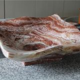Red dragon onyx Bathroom Wash square Basin Natural Stone Vessle Sink