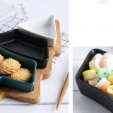 Colorful Christmas Tree Shape Plate Ceramic Plate with Bamboo Tray for Fruit and Candy