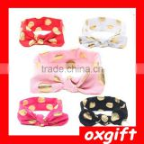 OXGIFT Hot sales Gold Polka Dot Baby Headband Knotted Bow Baby Head Wraps Kids Turban Head Wraps