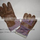 Brown furniture leather winter gloves with full lining