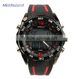 Hot-selling MIDDLELAND promotional custom silicone multi-function sports man wrist watch stainless steel case