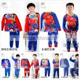 2015 autumn kid pajamas set boy sleepwear long sleeve pyjamas big hero/cars/spiderman/ultraman