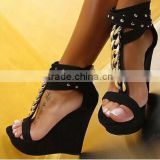 Fashion women shoes collection 2015 16cm heel women sandals gold chain Tstraps ankle wedge sandals high wedge sandals