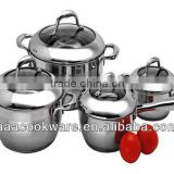 12pcs 18/8 stainless steel cookware sets / conical apple shape / hollow handle with silicon