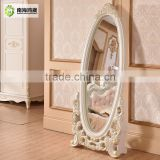 Decorative White Silver Oval Wooden French European Classic Baroque Style Bedroom Large wooden vintage mirror