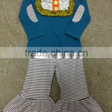 New Coming Baby Girls Fall Clothing Soft Kids bib shirts Quatrefoil Ruffled shirts and ruffle pant