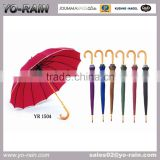 Advertising Custom Golf Promotional Wooden Shaft And Handle Straight Umbrella with Border