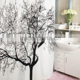 Newest Hot sale elegant offset print Tree pattern shower curtain with match bathroom set
