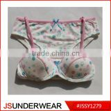 sexi school girl wear bra from OEM factory fabric 95%cotton 5%elastane heather grey with green dot prinitng