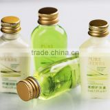 High quality pet bottle for hotel shampoo cosmetic bottles/20ml-50ml empty tubes and bottles with aluminum cap