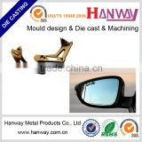 OEM china factory aluminum die casting powder coating motorcycle automobile bus rearview mirror frame