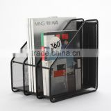 B83212 office supplies black color stationery metal mesh magazine file racks metal wire file holder magazine organizer