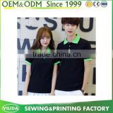 Customized Cotton Black Colour Contrast Green Collar Polo Shirt