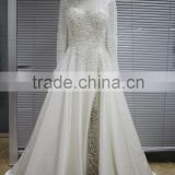 Factory Luxury Pearls Beaded Ivory Wedding Dresses 2016 Long Sleeves Side Split Pearls Scoop Bridal Dresses with Train Zipper
