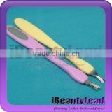 Plastic Metal 2 in 1 Cuticle Remover Tool Care Nail File 2014