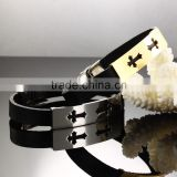 Jewelry Solid Stainless Steel Cross charms Leather Bangle Bracelet Men Jewelry Fashion Bangle