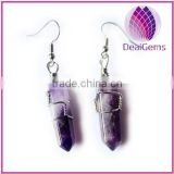 High quality natural amethyst stone fishhook earring