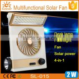 Factory hot selling LED Rechargable Solar Fan, Mullti-function solar charger LED solar light fan