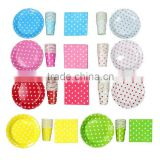 Polka Dot Party Supplies, Green pink Red Bue White Polka Dot Party Set Paper Plates Napkins Cups For Birhday Party, Baby shower