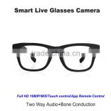Innovation smart live 1080p full hd wifi spy glass camera hidden sport two way Audio+Bone Conduction