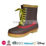 Durable men brown ankle rubber boots with laces
