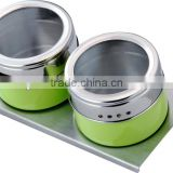 Green powder spraying condiment set,stainless steel condiment container&crue-stand,2pcs glass cover spice jar