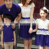 W91355A 2015 parent-child dress Parent-child outfit,boys t-shirt,girls lace dress,family suits