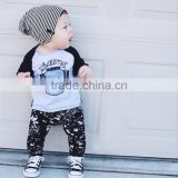 Name Brand Kids Newborn Baby Boy Print Cotton Fabric Clothing Wholesale