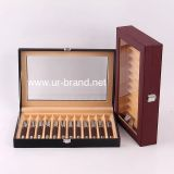 High Quality 12 Slots Leather Pen Box Fountain PenDisplay Box Wholesale,wooden pen box with Custom Logo