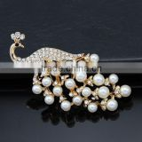 wholsale fashion silver gold crystal rhinestone diamond pearl handmade with chain bee brooch