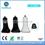 3 port triple USB car charger with 3.1A 3100mA output with colorful ring design and LED indicator