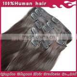 HOT!!!2015 new beauty products top quality human hair supplier black straight hair extension clip on