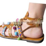 Comfortable leather lace-up custom footwear high 2016 model popular sandals