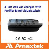 Professional Supplier Provide Directly 3 Port Car USB Charger with Cable and Air Purifier