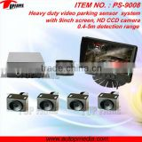TOPFAME PS-9008 Truck/bus/car parking sensor system with HD camera, 9inch LCD monitor,0.4-5m sensor detection
