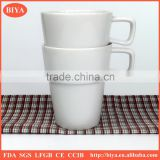 the cup stacking hot selling fancy white porcelain round stacked coffee stripe cup with handle tea and milk mug