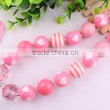 Wow!!Wholesale Cute girls pink heart bubblegum chunky necklace,Handmade acrylic beads kids necklace for DIY !