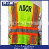 China Mesh polyester fluorescent fabrics security down vests jacket in competitive price