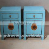 Chinese antique furniture pine wood white/blue bedside cabinet