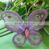 Artificial colorful organza butterfly wire mesh butterfly for wedding decoration