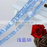electroplate glass bead india,unique design glass beads,wedding crystal beads,square glass beads