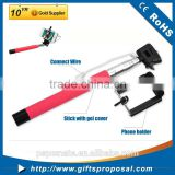 Extendable Handheld selfie stick with cable Wired Remote Shutter Selfie Stick Telescopic Holder Different color for choice