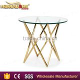 living room modern design glass center table stainless steel base                                                                                                         Supplier's Choice