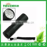 9 leds flash light Black Hiking Camping Mini 9-LED Super bright Torch Lamp Flashlight linterna for AAA battery