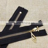 Wholesale fashion design 5 # gold plated closed-end metal zipper, clothing bag zipper