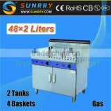 Catering equipment commercial stainless steel 2tank 4 basket 48L*2 gas griddle with potato chips fryer
