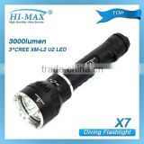 HI-MAX X7 3*Cree XM-L2 U2 LED 3000 lumen diving high power long beam distance rechargable torch