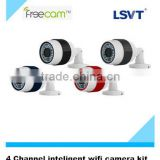 4 channel 720P smart wifi camera kit, 4xC260 camera with SD card+ 4ch CMS software (no need NVR), with intelligent analysis.