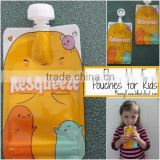 resqueeze reusable freezer food pouch/reusable food pouch with spoon/double ziplock reusable food pouch with spoon