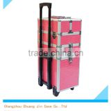 hot sale large pink beauty aluminum trolley beauty kit case, aluminum portable makeup case